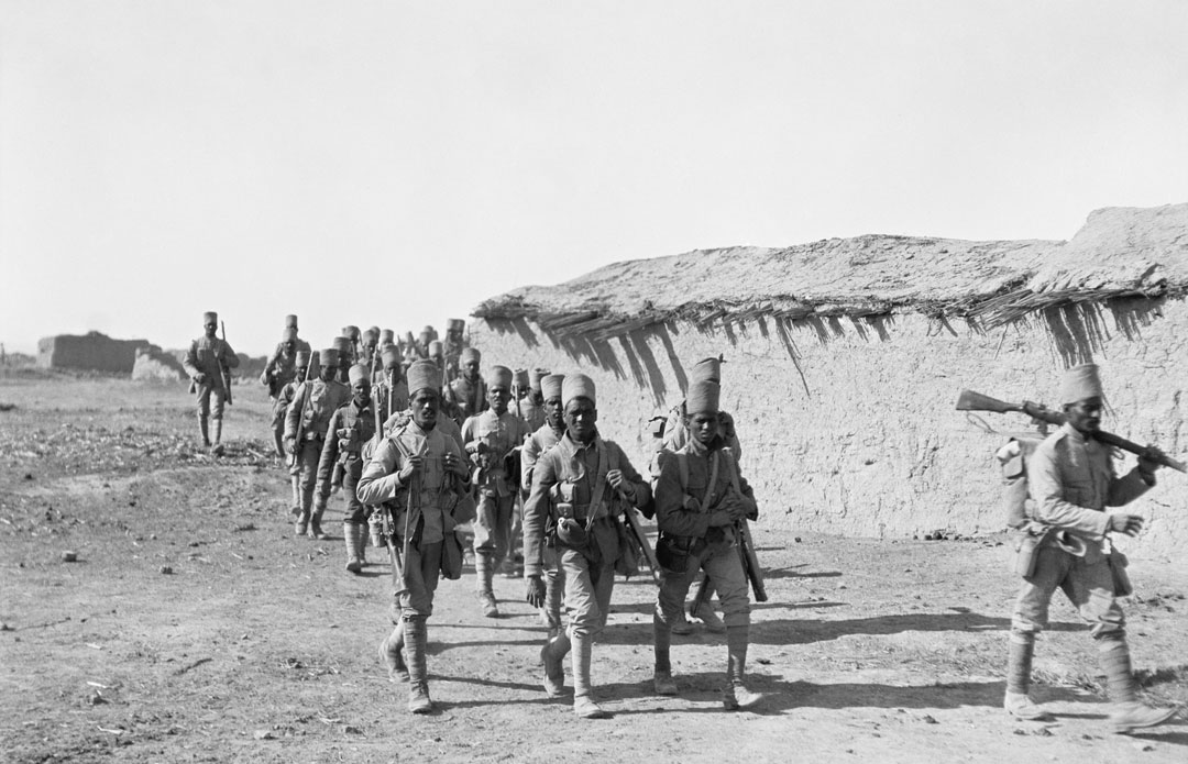 Indian troops march at Kara Tepe